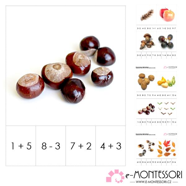 Montessori karty - podzimní sčítání a odečítání do deseti