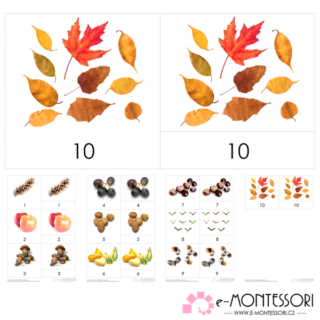 Montessori třísložkové karty podzimní počítání
