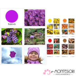 Montessori karty barvy - podzimní třídění barev