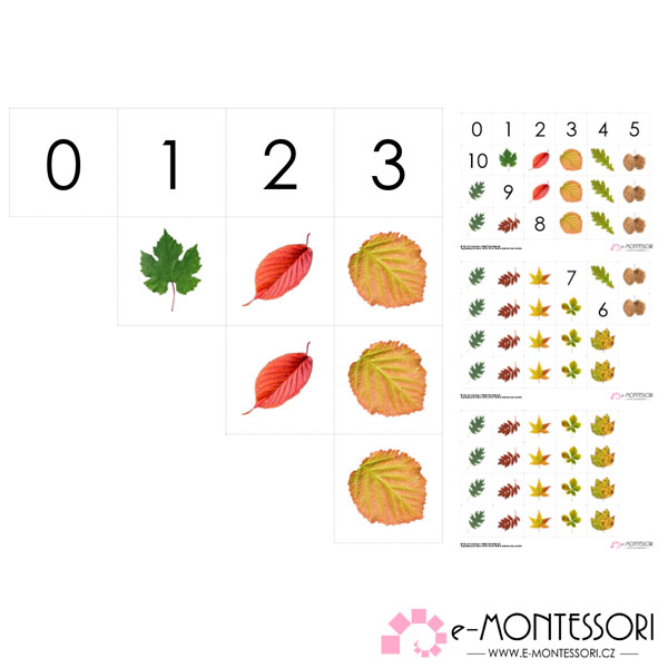 Montessori karty listy počítání do 10
