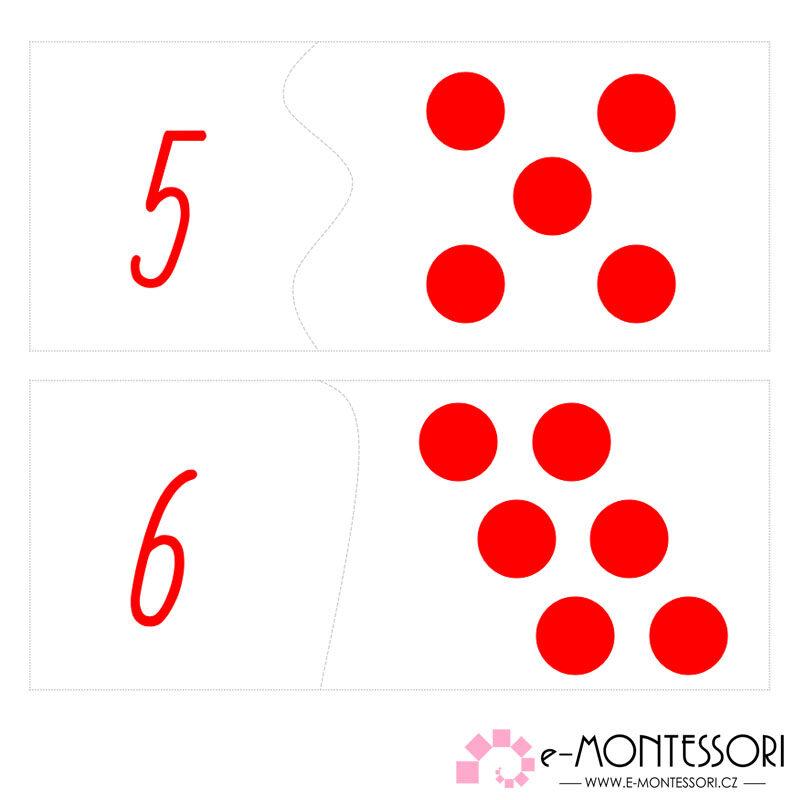 Puzzle čísla a puntíky - psací