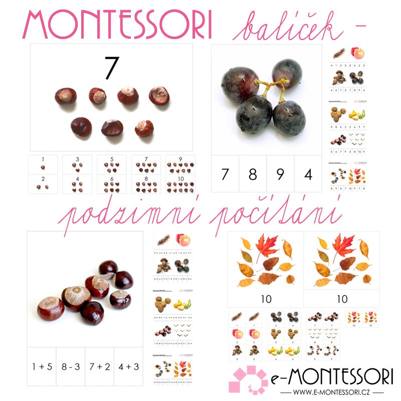Montessori karty Podzimní počítání (balíček)