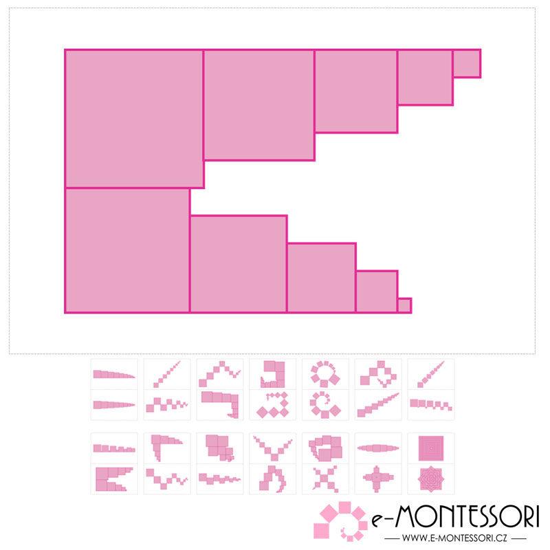 Předlohy Montessori růžová věž