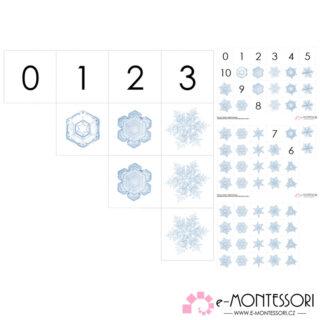Montessori počítání do deseti - vločky