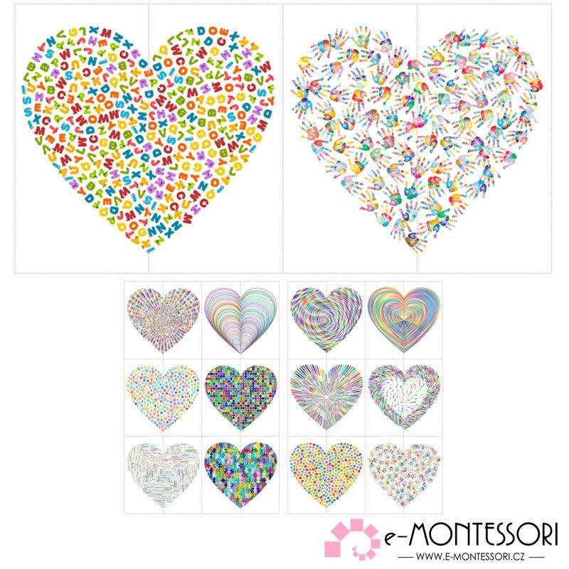 Montessori - párování polovin srdcí - Valentýn